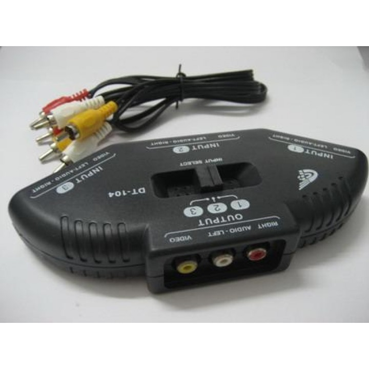 AV& COMMUTATOR   (3 Way Port Audio Video AV RCA Switch Selector Box Splitter & 3 RCA Cable(4341)