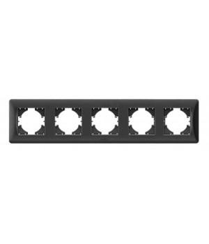 VIDEX BINERA Рамка черный графит 5 постов горизонтальная  (VF-BNFR5H-BG) (12/48)