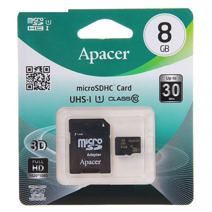 Micro SD карта памяти 8Gb Apacer  class 10