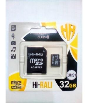 Micro SD карта памяти Hi-Rali 32GB UHS-1 10 класс с адаптером