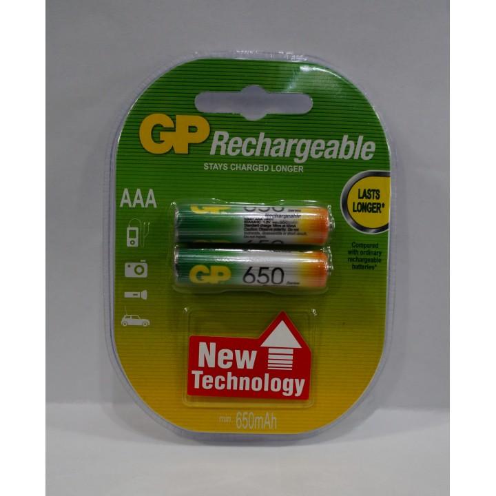 Аккумуляторная батарейка GP AAA R03 650MAH (на блистере)