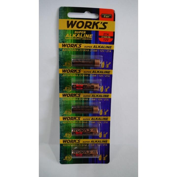 Батарейка WORKS 27A (на блистере)