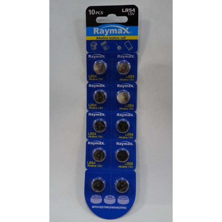 Батарейка Raymax AG10 /LR54/189/389/SR1130W (блистер)