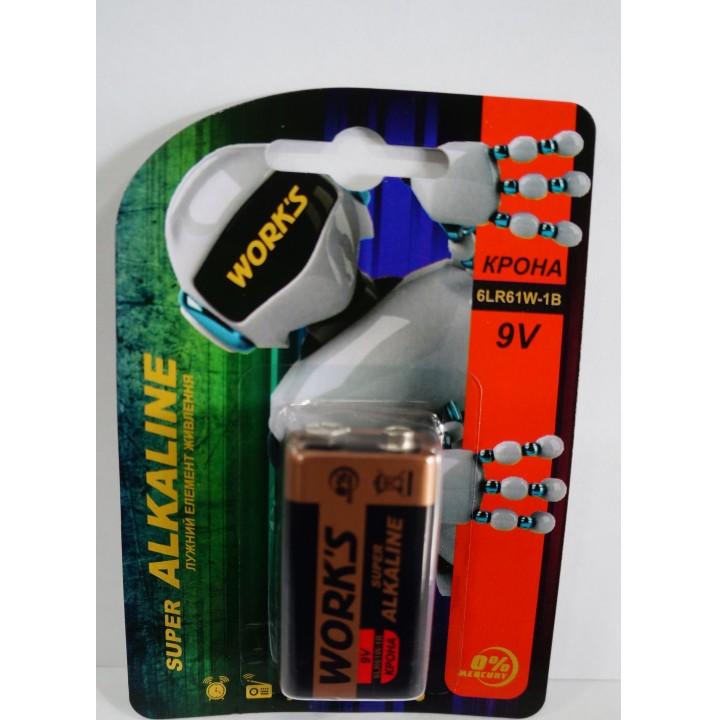 Батарейка Works 6LR61 крона alkaline (блистер)