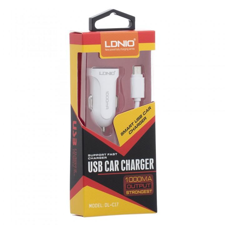 Автомобильное зарядное устройство LDNIO DL-C 17+micro USB кабель