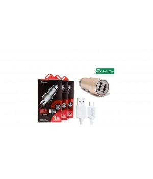Автомобильное зарядное устройство Soloffer C201 + кабель usb v8