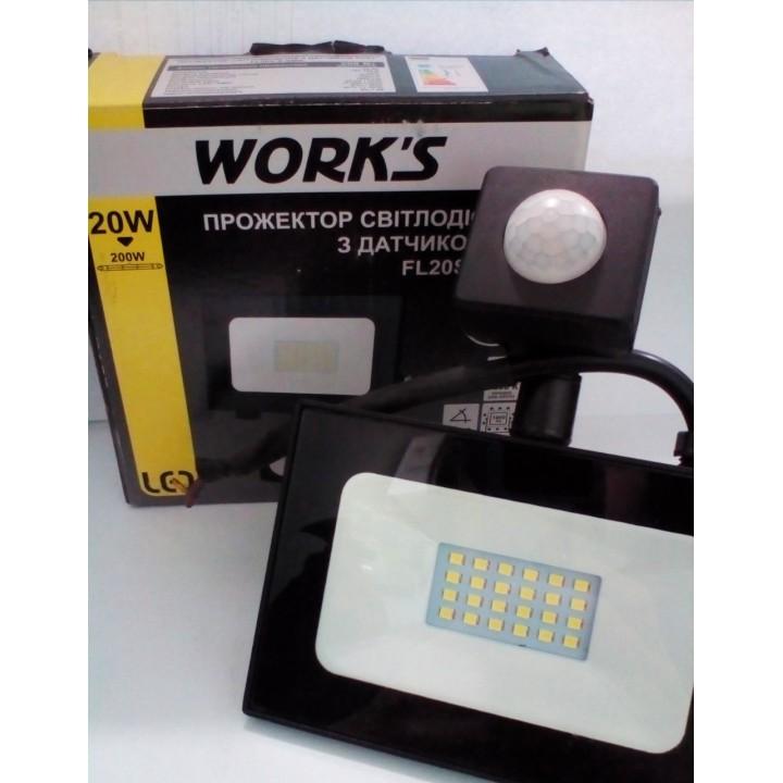 Прожектор LED WORKS 20W с датчиком движения