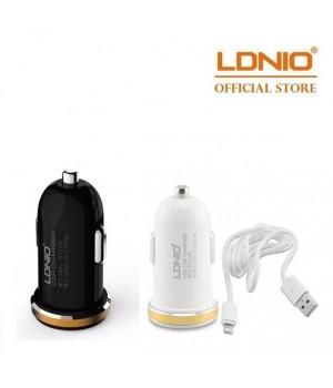 Автомобильное зарядное устройство LDNIO DL-C22+ IPHONE USB кабель