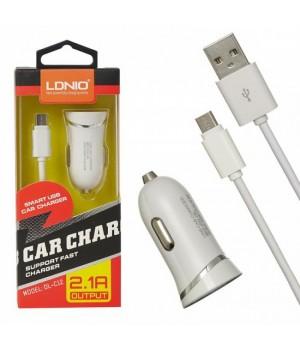 Автомобильное зарядное устройство LDNIO DL-C 12+ micro USB кабель