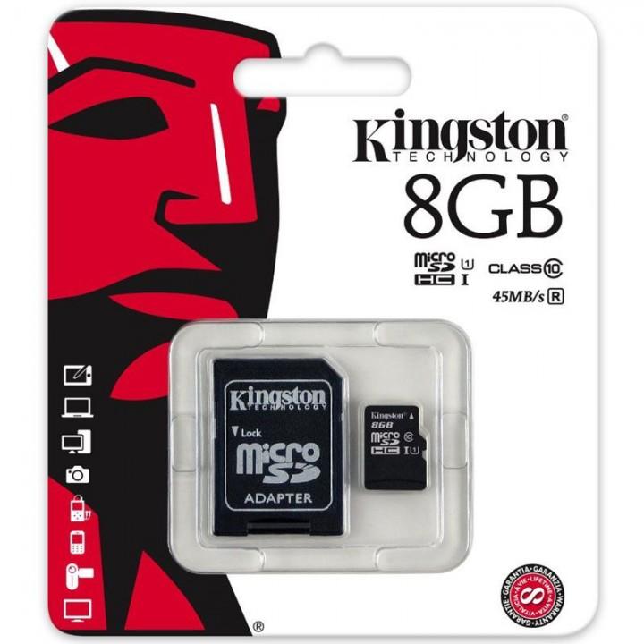 Micro SD карта памяти KINGSTON  8Gb Class 10