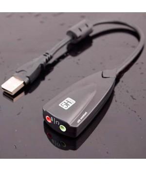 Внешняя звуковая карта 5HV2 (USB sound card) с разъёмами 3,5мм для колонок/наушников и микрофона чёрная