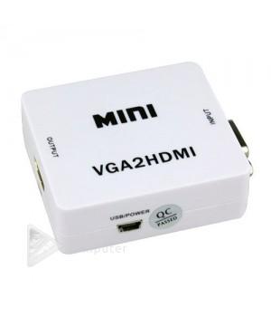 Конвертер mini VGA на HDMI  видео с аудио 1080P