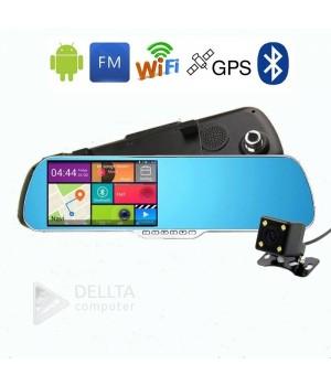 Зеркало заднего вида с видеорегистратором на андроиде + bluetooth RA01