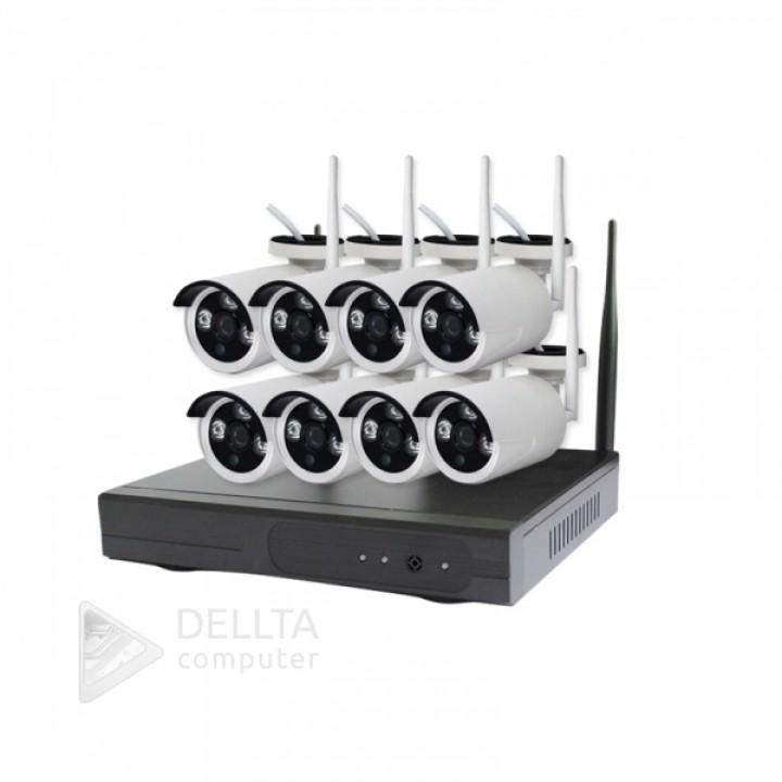 Комплект видеонаблюдения CT-NW6308 на 8 камер ip NVR беспроводной Wi Fi