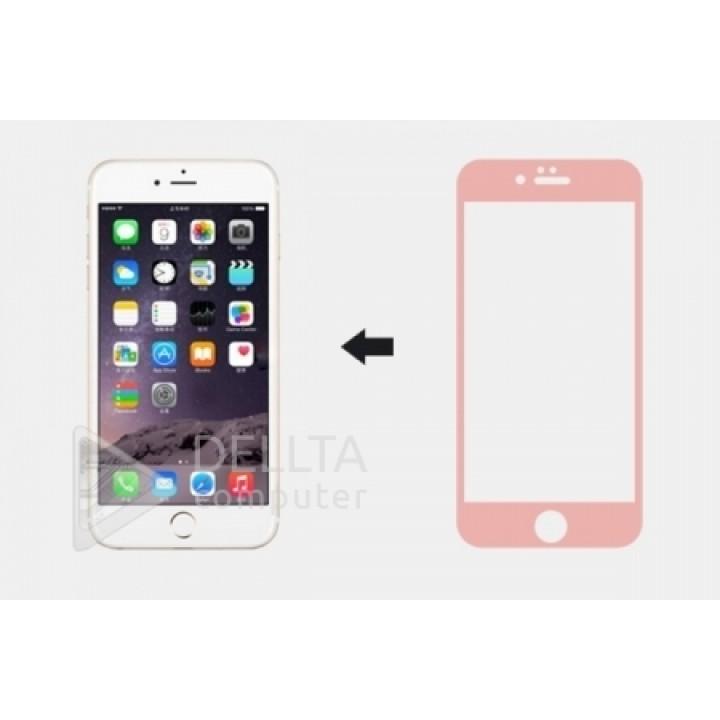 Защитное стекло для Iphone 6/6s plus розовое (6G plus) Full Cover