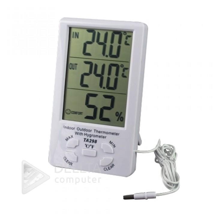 Измеритель температуры и влажности TA298 с часами