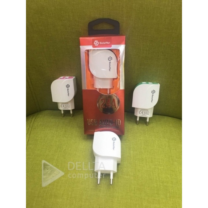 Сетевое зарядное устройство Soloffer 2012+ кабель usb micro (v8)