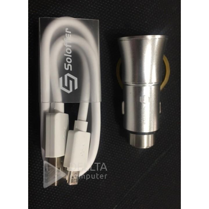 Автомобильная зарядка для телефона/планшета/ Soloffer C 205 +v8 cable