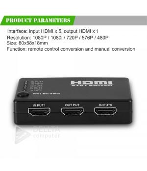 5Port HDMI Switch, 5 Порты и разъёмы 1080 P HDMI коммутатор видео переключатель hdmi splitter ИК пульт