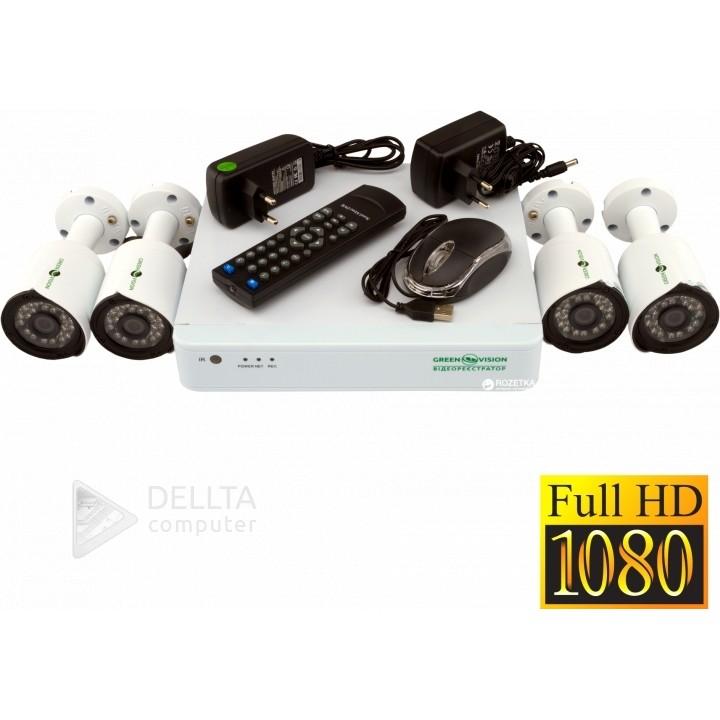 Купить КОМПЛЕКТ ВИДЕОНАБЛЮДЕНИЯ GREEN VISION GV-K-S13/04 1080P: цена, характеристики   Dellta Computer