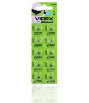 Батарейка Videx AG0 (LR521) Alkaline, 1.5 V( блистер 10 батареек)