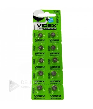 Батарейка Videx AG5 (LR754)  блистер 10 батареек