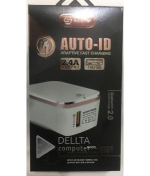 Сетевое зарядное устройство Qualcomm Quick Charge 3.0  Soloffer 1101+ кабель usb micro (v8)