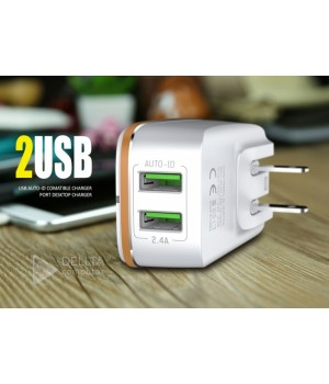 СЗУ Solofer 2202 2.4A 2USB auto-id +Usb cable iphone