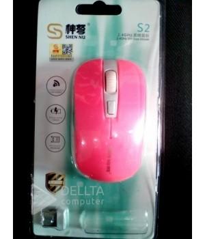 Мышка беспроводная S2 розовая