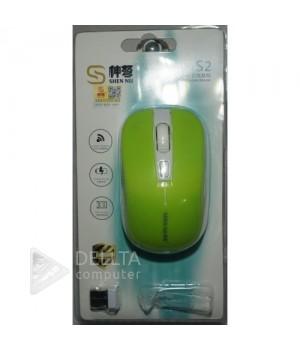Мышка беспроводная S2 зеленая