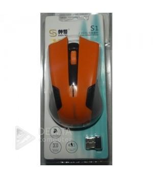 Мышка беспроводная S1 оранжевая