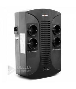 ИБП LP 650VA-PS 4 евророзетки, 5 ступ. AVR, 7.5Ач12В, пластиковый корпус, Черный цвет LP2415