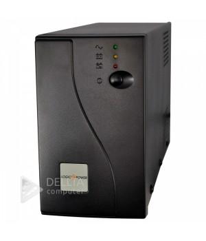 ИБП LogicPower U650VA, USB-порт, 2 евророзетки, 5 ступ. AVR, 7.5Ач12В, металлический корпус, Черный цвет LP1079