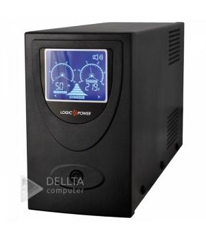 ИБП LogicPower UL650VA, USB-порт, LCD-экран, 2 евророзетки, 5 ступ. AVR, 7.5Ач12В, металлический корпус, Черный цвет LP1454