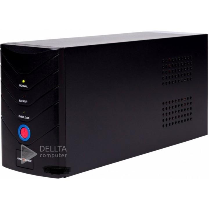 ИБП LogicPower 850VA, 2 евророзетки, 5 ступ. AVR, 8.5Ач12В, металлический корпус, Черный цвет LP1212