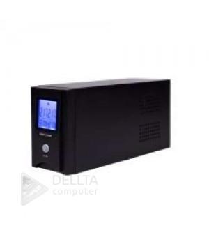 ИБП LogicPower UL850VA, USB-порт, LCD-экран, 2 евророзетки, 5 ступ. AVR, 8.5Ач12В, металлический корпус, Черный цвет LP1456