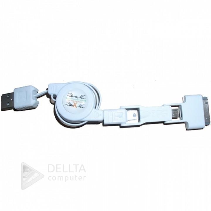 Кабель-рулетка  UNT E07 USB 3 в 1 (iphone+mini+micro)