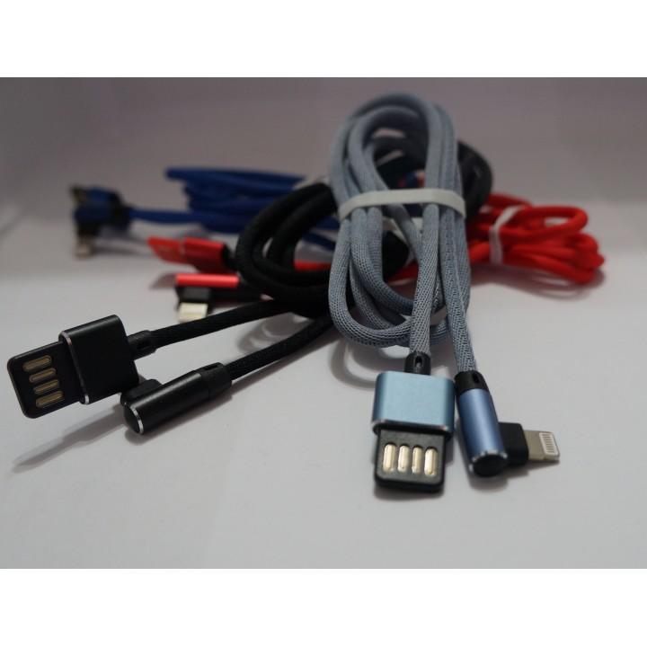 Lighting Usb  угловой Тканевые  с плетеными проводами   iphon 6/7/8/X в ассортименте