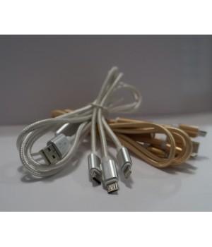 Кабель USB 3in1 ,iphone,micro, type c (lighting+v8+type c)