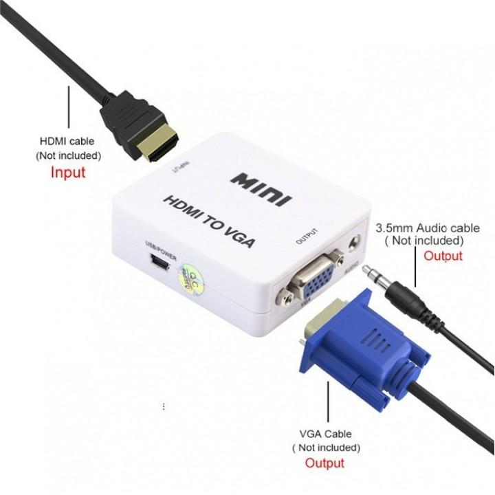 Mini конвертер-переходник с HDMI в VGA с поддержкой разрешения 1080р