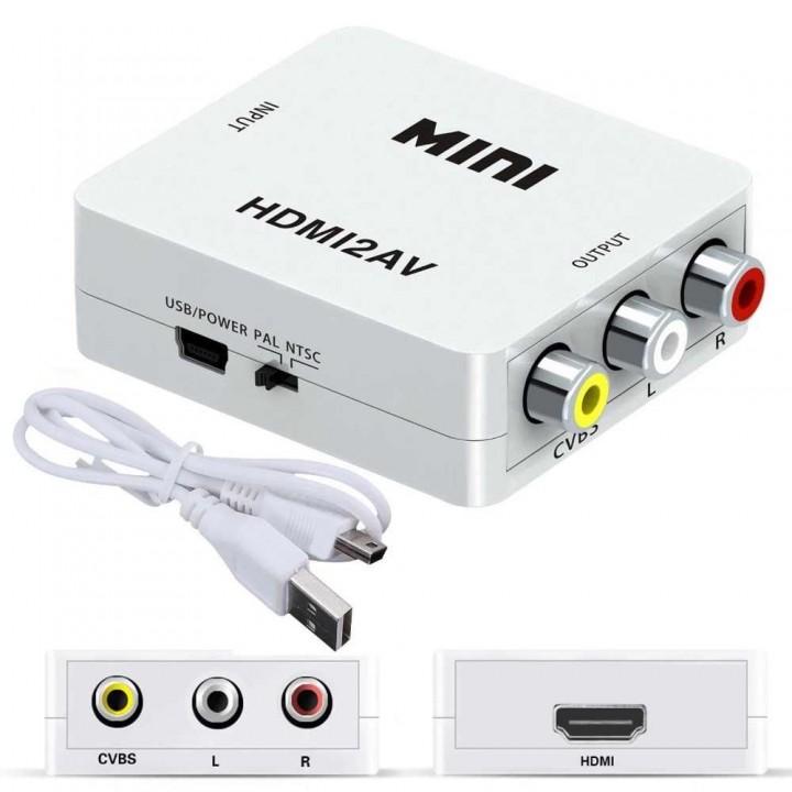 Конвертер MINI HDMI to AV с поддержкой разрешения 1080p