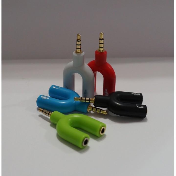 Переходник audio splitter 3.5мм на 2 гнезда (микрофон + наушники) KY-148