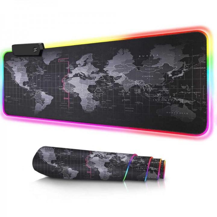 Коврик для мыши с подсветкой Black map RGB RS-01 (80*30см)