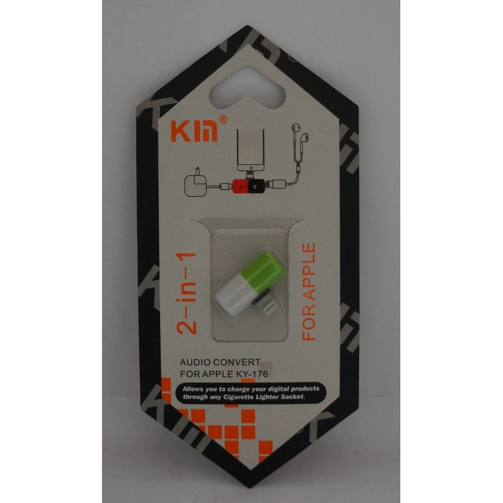 Переходник KYIN KY-176  Lighting to 2 in1 Audio Adaptor Headphone Charging