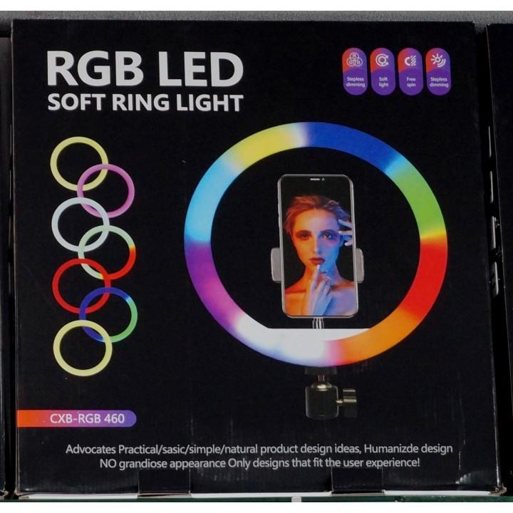 Кольцевая лампа для профессиональной съемки RGB LED Soft Ring Light CXB-RG460 46cm радужная-гибрид