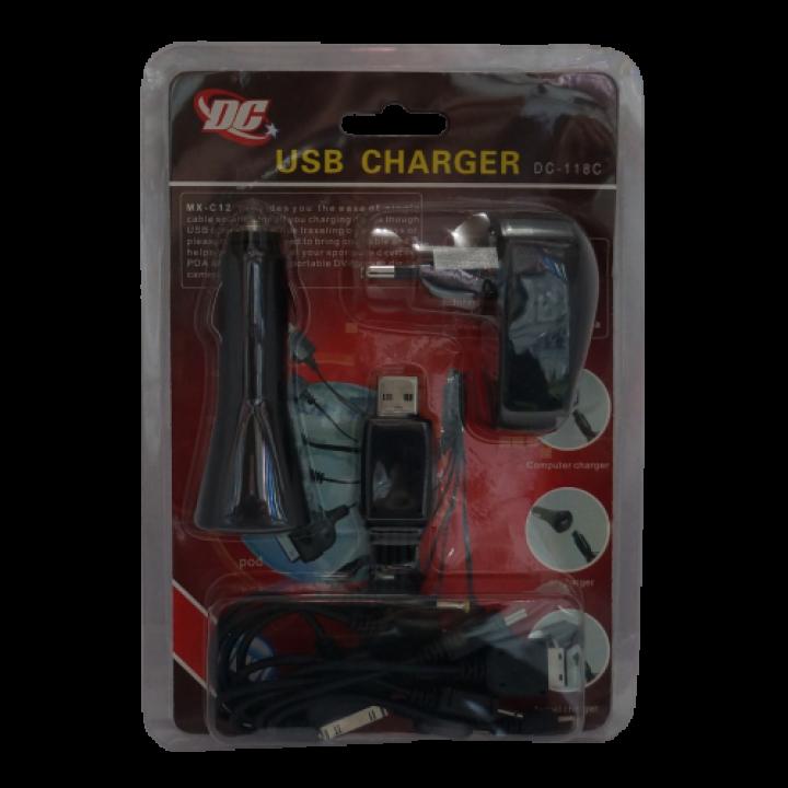 АЗУ DC-118 зарядка автомобильная для телефона +универсальный кабель 10-в-1