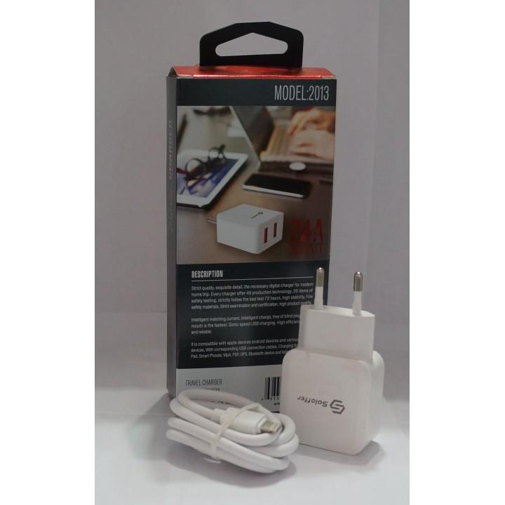 Сетевое зарядное устройство  Soloffer  2013/ 2usb out 2.4A + кабель usb Lightibg (iphone)